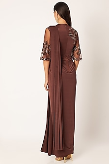 Brown Embroidered & Draped Saree Gown by Neeta Lulla