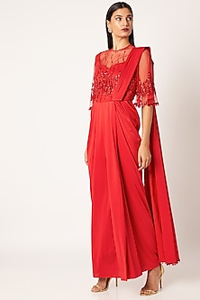 Red Embroidered & Draped Saree Gown by Neeta Lulla