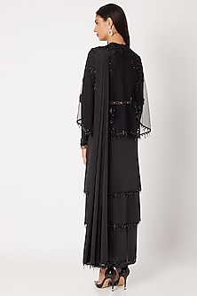 Black Embroidered Tiered Saree Gown With Cape by Neeta Lulla