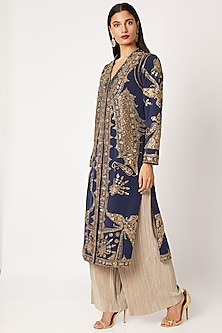 Blue & Gold Embroidered Jacket With Pants by Neeta Lulla-Shop By Style