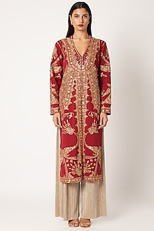 Red & Golden Embroidered Jacket With Pants by Neeta Lulla