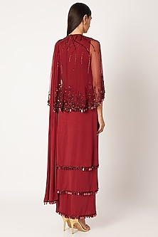 Red Embroidered Tiered Saree Gown With Cape by Neeta Lulla