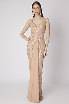 Nude Embroidered Sleeveless Gown by Neeta Lulla