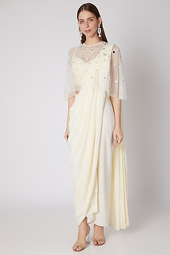 Off White Embroidered Dhoti Saree Set With Cape by Neeta Lulla