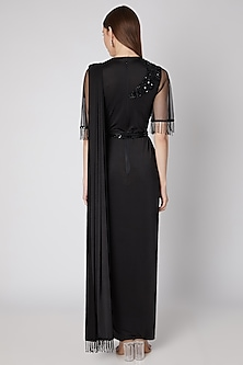 Black Embroidered Saree Gown With Belt by Neeta Lulla