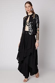 Black Embroidered Jacket & Bustier Set by Neeta Lulla