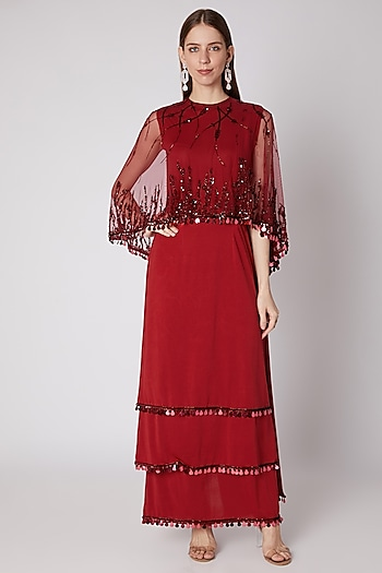 Red Embroidered Saree Gown by Neeta Lulla