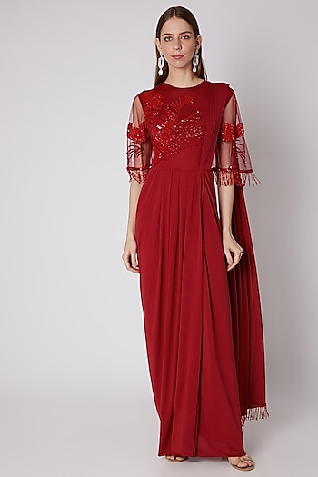 Red Sequins Embroidered Saree Gown by Neeta Lulla