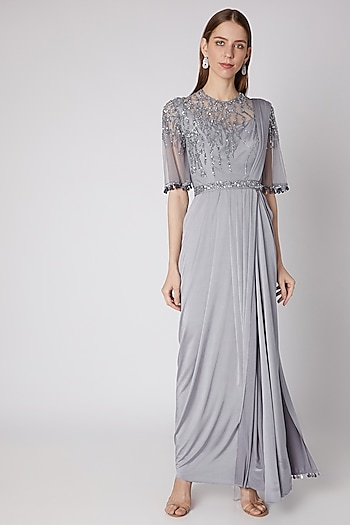 Grey Embroidered Saree Gown With Belt by Neeta Lulla