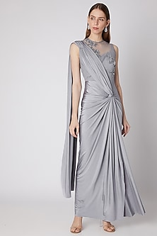 Grey Embroidered Saree Gown by Neeta Lulla