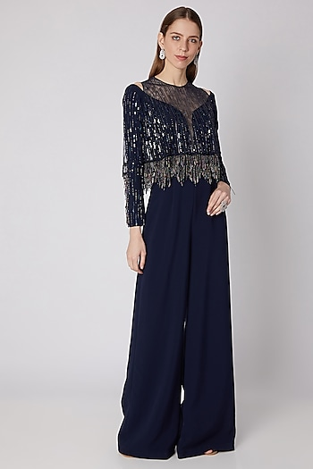 Blue Embroidered Jumpsuit With Cape by Neeta Lulla