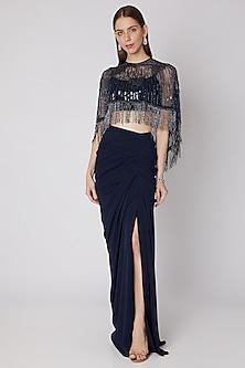 Blue Embroidered Bustier & Skirt Set by Neeta Lulla