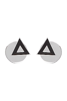 White Finish Handcrafted Black Wood Geometric Earrings by NETI NETI Jewellery