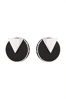 White Finish Handcrafted Black Wood & Metal Earrings by NETI NETI Jewellery