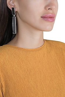 White Finish Handcrafted Wood Dangler Earrings by NETI NETI Jewellery