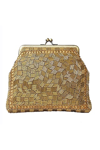Gold Bugle Beads Embroidered Clutch by Neonia