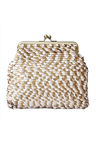 Peach, White & Gold Embroidered Clutch by Neonia