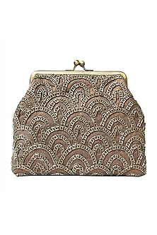 Brown Bugle Beads Embroidered Clutch by Neonia