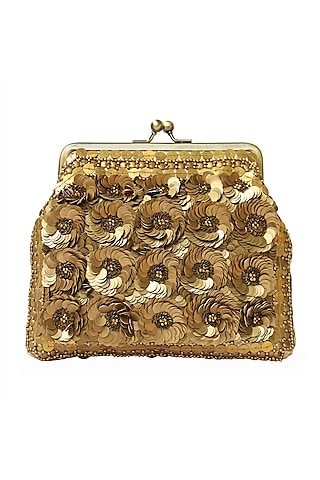 Gold Abstract Embroidered Clutch by Neonia