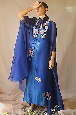 Blue Embellished Cape With Inner by Neha Poddar