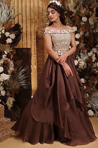 Brown 3D Floral Embroidered Draped Lehenga Set by Neha Vaswani