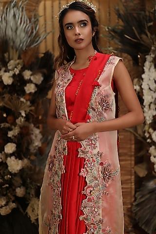 Red Draped Skirt Saree Set With Jacket by Neha Vaswani