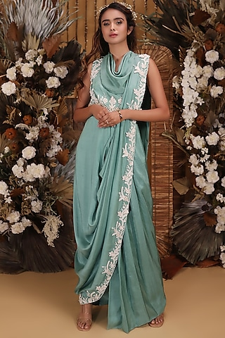 Sage Green Embroidered Draped Saree Gown by Neha Vaswani