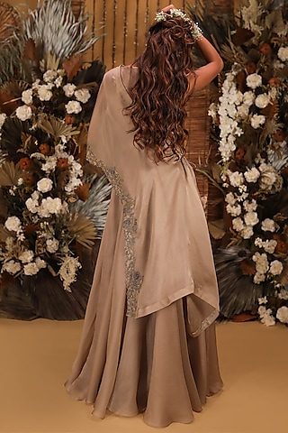 Brown Hand Embroidered Gown With Cape by Neha Vaswani