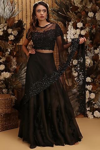 Black Hand Embroidered Sharara Set by Neha Vaswani