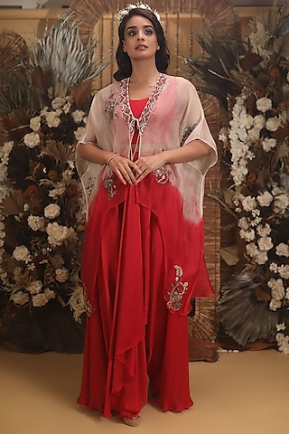 Red Hand Embroidered Pant Set by Neha Vaswani