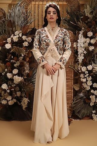 Beige Floral Embroidered Jacket Set by Neha Vaswani