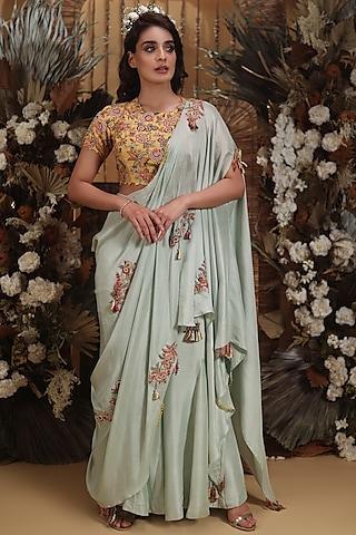Pista Hand Embroidered Draped Pant Saree Set by Neha Vaswani