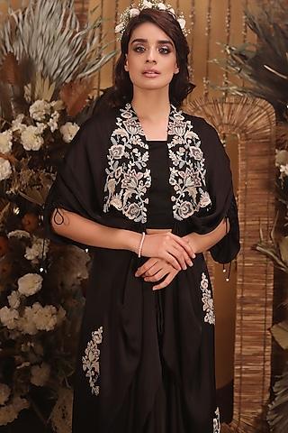 Black Hand Embroidered Draped Jacket Set by Neha Vaswani