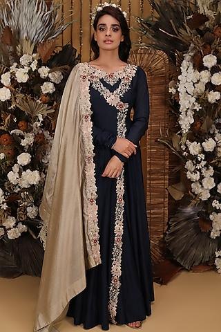 Navy Blue Angrakha Anarkali Set by Neha Vaswani