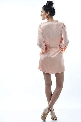 Rose Gold Satin Cordon Robe With Tie-Up by Nochee Vida