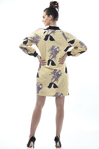 Yellow Printed & Striped Night Dress by Nochee Vida