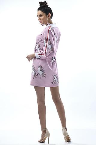 Purple Printed & Striped Night Dress by Nochee Vida