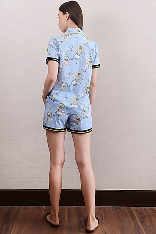 Sky Blue Printed Shorts With Top by Nochee Vida