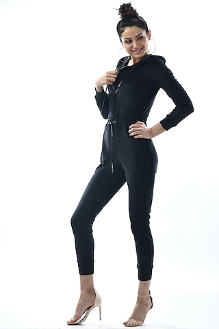 Black Hooded Jumpsuit With Drawstrings by Nochee Vida