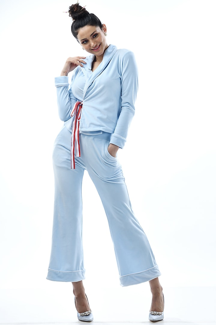 Sky Blue Kotted Top With Pajama Pants by Nochee Vida
