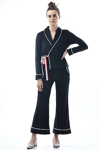 Black Kotted Top With Pajama Pants by Nochee Vida