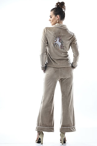 Bronze Kotted Top With Pajama Pants by Nochee Vida