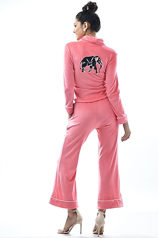 Blush Pink Kotted Top With Pajama Pants by Nochee Vida