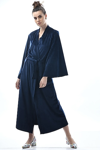 Cobalt Blue Embroidered Robe With Tie-Up by Nochee Vida