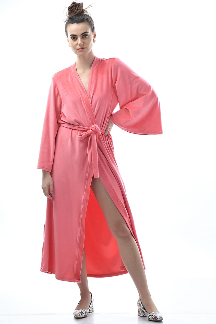 Blush Pink Embroidered Robe With Tie-Up by Nochee Vida