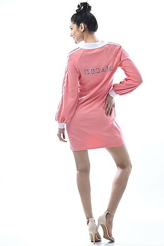 Blush Pink Embroidered Shirt Dress by Nochee Vida
