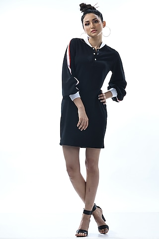 Black Embroidered Shirt Dress by Nochee Vida