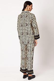 Nude & Black Silk Pyjama Set by Nochee Vida