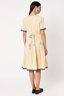 Nude Embroidered Dress With Belt by Nochee Vida