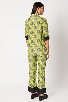 Mint Green Silk Pyjama Set by Nochee Vida